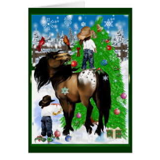 A Horse and Kid Christmas Card