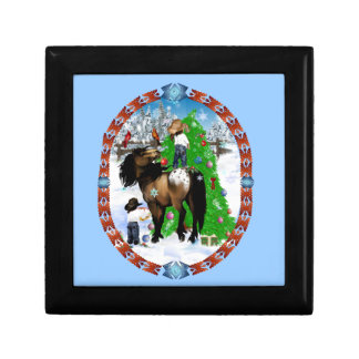 A Horse and Kid Christmas Oval Gift Boxes