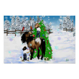 A Horse and Kid Christmas Oval Poster