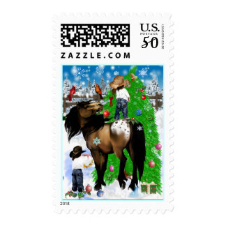 A Horse and Kid Christmas Postage