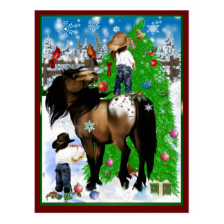 A Horse and Kid Christmas  Postcard