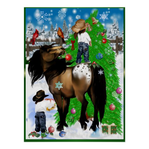 A Horse and Kid Christmas Posters