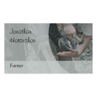 A horse being shod, grey version business card