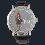 "a horse &amp; custom initials watch<br><div class=""desc"">Personalized horse-themed item</div>"