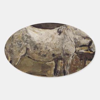 A Horse Drinking by Eugene Boudin Oval Sticker