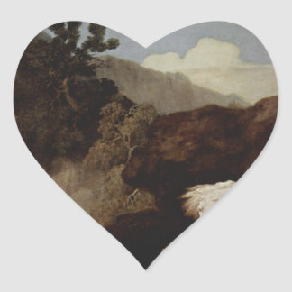 A Horse Frightened by a Lion by George Stubbs Heart Sticker