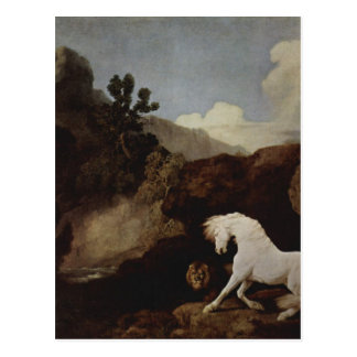 A Horse Frightened by a Lion by George Stubbs Postcard