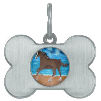 a Horse on the Beach Pet Name Tag