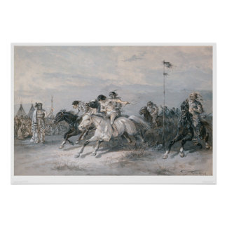 A Horse Race in a Sioux Indian Camp (0603A) Poster