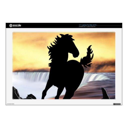 """A horse silhouette and waterfall 17"""" laptop decal"""