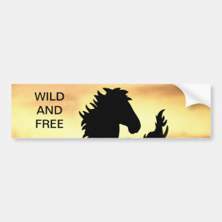 A horse silhouette and waterfall bumper sticker