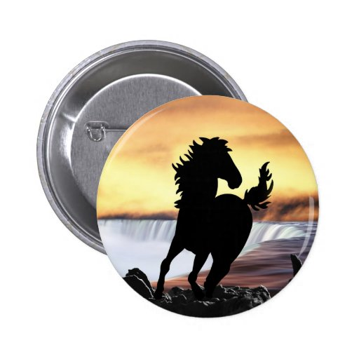 A horse silhouette and waterfall 2 inch round button