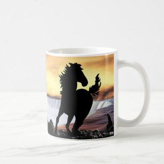 A horse silhouette and waterfall coffee mug
