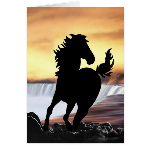 A horse silhouette and waterfall greeting card