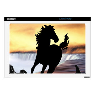 A horse silhouette and waterfall laptop decal