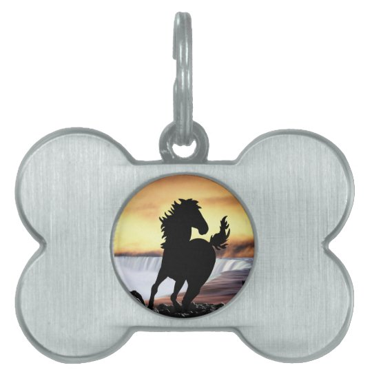 A horse silhouette and waterfall pet ID tag