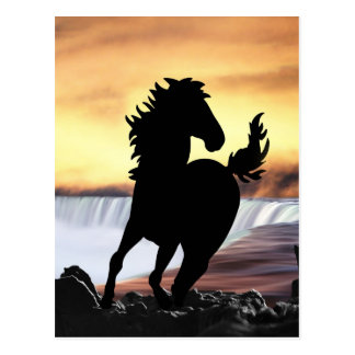 A horse silhouette and waterfall postcard
