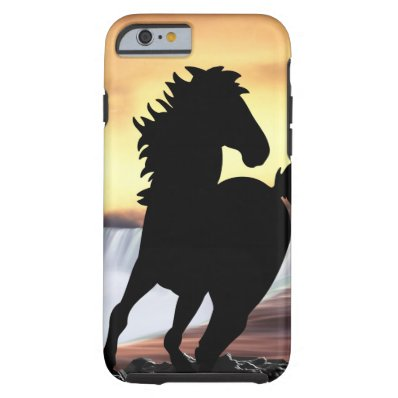 A horse silhouette and waterfall tough iPhone 6 case