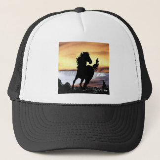 A horse silhouette and waterfall trucker hat