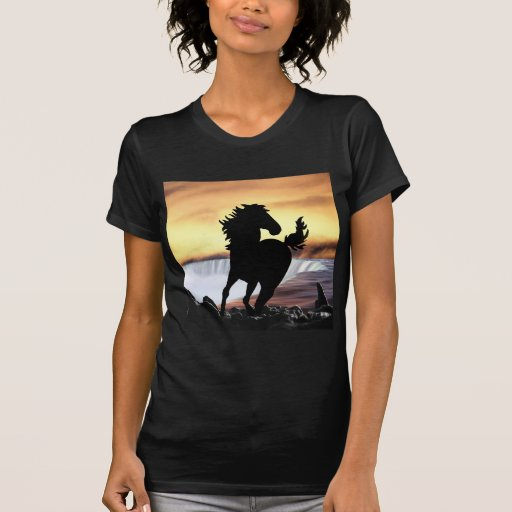 A horse silhouette and waterfall tshirt