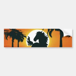 A horse silhouette at sunset bumper sticker