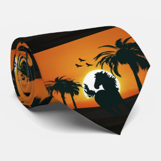 A horse silhouette at sunset tie