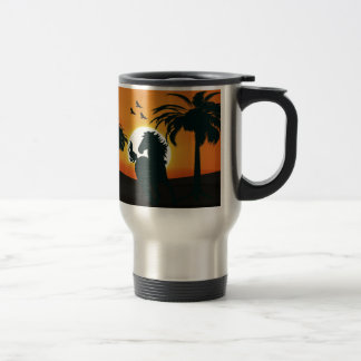 A horse silhouette at sunset travel mug