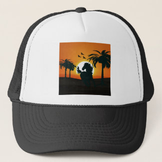 A horse silhouette at sunset trucker hat