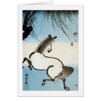 A Horse Under A Willow, Kumisada, 1830 Card