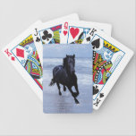 """A horse wild and free bicycle playing cards<br><div class=""""desc"""">The beautiful fresien stallion, proud and strong. This is a stud horse and one can see why. As a Native American symbol, the Horse symbol meanings combine the grounded power of the earth with the whispers of wisdom found in the spirit winds. The Horse has long been honored has helper,...</div>"""