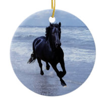 A horse wild and free christmas tree ceramic ornament