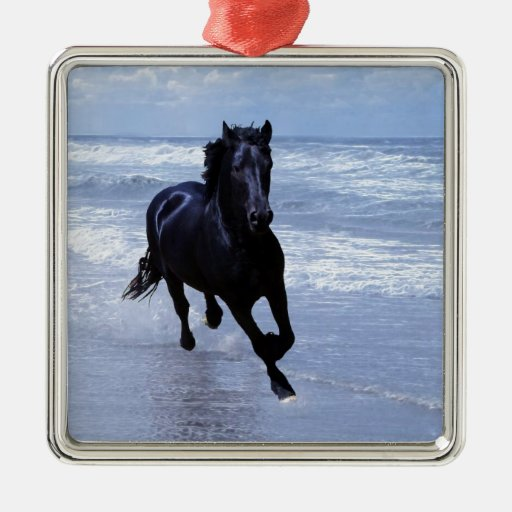 A horse wild and free square metal christmas ornament