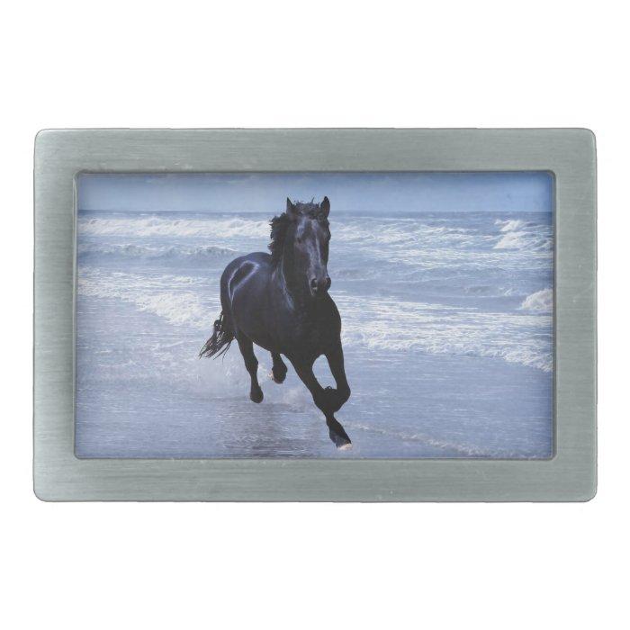A horse wild and free rectangular belt buckle