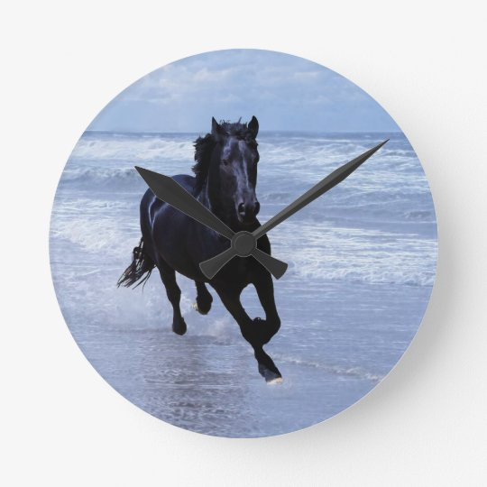 A horse wild and free round clock