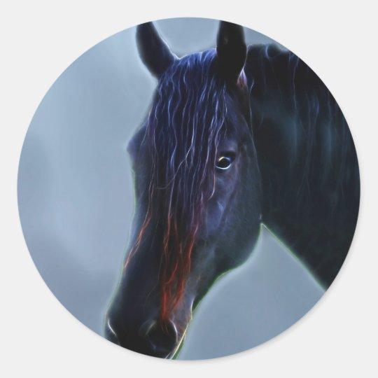 A horses curiosity classic round sticker