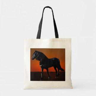 A horses sunset romp budget tote bag