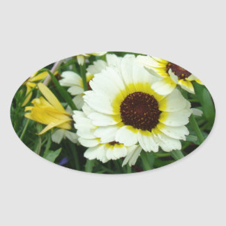 A host of yellow daisies oval sticker