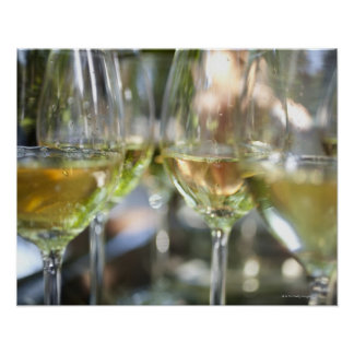 A host pours glasses of torrontes for guests at poster
