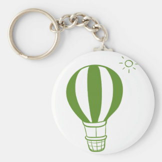A hot air balloon and a sun basic round button keychain