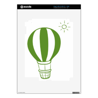A hot air balloon and a sun decals for iPad 2