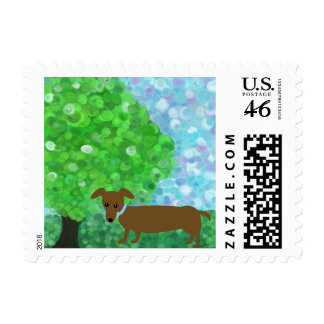 a Hot Dog in the Park Postage Stamp