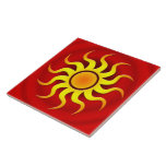 "A HOT SOUTHWESTERN SUN CERAMIC TILE<br><div class=""desc"">A colorful stylized sun on a bold red gradient create a beautiful southwestern art look.</div>"