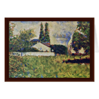 A House Among The Trees By Seurat Georges Greeting Cards