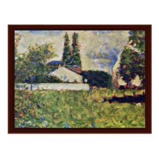 A House Among The Trees By Seurat Georges Post Cards