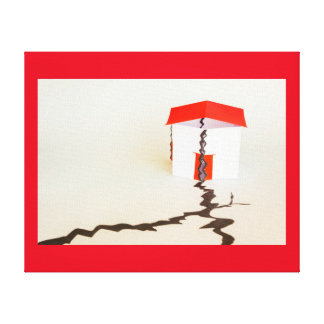 a house collapsed in the seism  on wrapped canvas