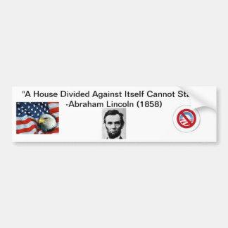 """""""A House Divided"""" Anti-Obama Bumper Sticker"""