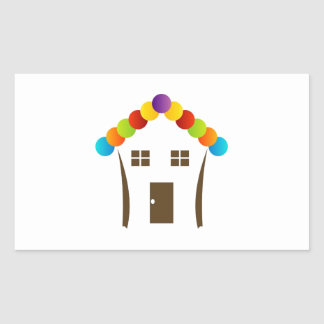 A house graphic with a colorful roof rectangular sticker