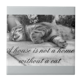 A house is not a home without a cat tile. ceramic tile