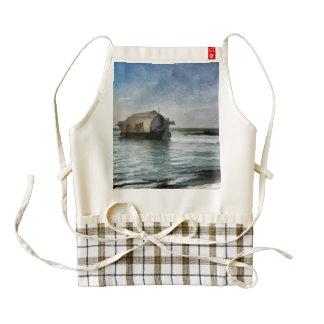 A houseboat moving through a coastal lagoon zazzle HEART apron