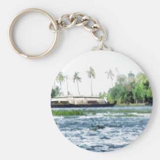 A houseboat on its quiet journey basic round button keychain